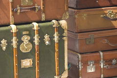 Travel Case and suitcase. Vintage old travel case and suitcase, on Provence France Royalty Free Stock Image