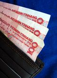 Travel: Cash and Wallet. Chinese cash(chinese yuan) in a wallet for travellers Royalty Free Stock Photos