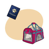 Travel with cats, dogs - transportation bag, carrier and pet passport Stock Photo