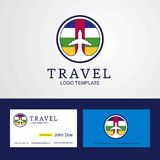 Travel Central African Republic Creative Circle flag Logo and Bu. Siness card design - This Vector EPS 10 illustration is best for print media, web design stock illustration