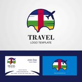 Travel Central African Republic Flag Logo and Visiting Card Design. This Vector EPS 10 illustration is best for print media, web design, application design stock illustration