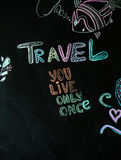 Travel chalk inscription Stock Images