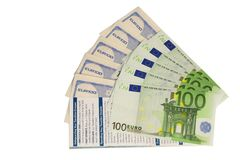 Travel cheques and euro Royalty Free Stock Photos