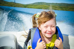 Travel of children on water in the boat Stock Image
