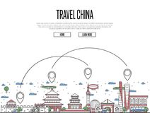 Travel China poster in linear style. Travel China poster with national architectural attractions and air route symbols in trendy linear style. Chinese famous Stock Photos