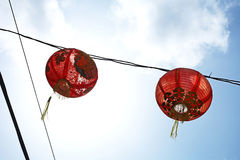 Travel in china. Red chinese ball and blue sky in china Royalty Free Stock Photo