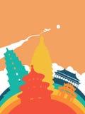 Travel China world landmark landscape. Travel China landscape illustration, Chinese world landmarks. Includes forbidden city, heaven temple, ancient pagodas Stock Photography