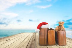 Travel. Christmas Luggage Suitcase Vacations Journey Tripping Royalty Free Stock Photo