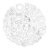 Travel circle background from line icon. Linear vector pattern. Vector illustration royalty free illustration