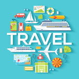Travel circle infographics template concept. Icons design for your product or design, web and mobile applications Royalty Free Stock Photo