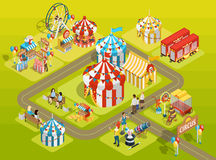 Travel Circus Fairground Isometric Layout Poster. Travel circus attractions isometric composition amusement park schema with striped tents  observation wheel and Stock Photography