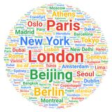 Travel cities destinations word cloud concept royalty free illustration