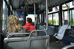 Travel in a city bus. In a bus. City travel. City transportation. People in a bus. In Quebec City Stock Photography