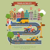 Travel in city flat vector infographics: taxi bus road tourism Royalty Free Stock Images