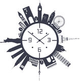 Travel clock in black and white Royalty Free Stock Photos