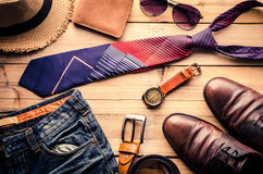 Travel Clothing accessories Apparel along for businessman Stock Photos