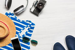 The travel and clothing accessories apparel along for the men Royalty Free Stock Images