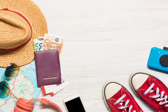 The travel and clothing accessories apparel along for the men Royalty Free Stock Photos