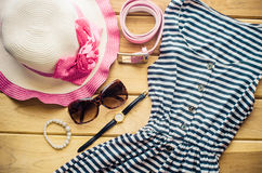 Travel Clothing accessories apparel along with summer for womenใ. Travel Clothing accessories apparel along with summer for women Royalty Free Stock Images