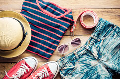 Travel Clothing accessories Apparel along for the trip. Travel Clothing accessories Apparel along for the trip Stock Photo
