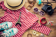 Travel Clothing accessories Apparel along for the trip. Travel Clothing accessories Apparel along for the trip Stock Image