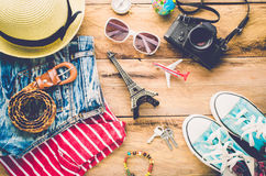 Travel Clothing accessories Apparel along for the trip. Travel Clothing accessories Apparel along for the trip Royalty Free Stock Images