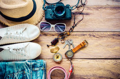Travel Clothing accessories Apparel along for the trip. Travel Clothing accessories Apparel along for the trip Royalty Free Stock Photography