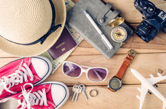 Travel Clothing accessories Apparel along for the trip. Travel Clothing accessories Apparel along for the trip Royalty Free Stock Photos