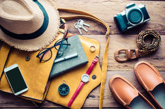 Travel Clothing accessories Apparel along for the trip. Travel Clothing accessories Apparel along for the trip Royalty Free Stock Photo