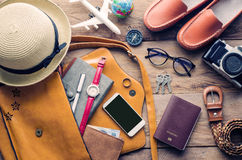 Travel Clothing accessories Apparel along for the trip. Travel Clothing accessories Apparel along for the trip Stock Photos