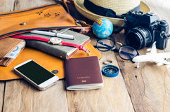 Travel Clothing accessories Apparel along for the trip. Travel Clothing accessories Apparel along for the trip Royalty Free Stock Image