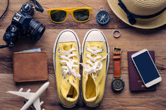 Travel Clothing accessories Apparel along for the trip. Travel Clothing accessories Apparel along for the trip Stock Images