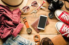 Travel Clothing accessories Apparel along for the trip. Travel Clothing accessories Apparel along for the trip Stock Photography