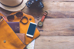 Travel Clothing accessories Apparel along for the trip.  Royalty Free Stock Images