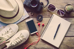 Travel Clothing accessories Apparel along for the trip.  Royalty Free Stock Photo