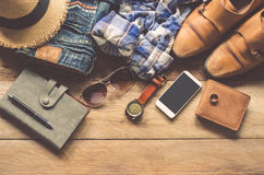 Travel Clothing accessories Apparel along for the trip.  Stock Photos