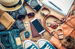 Travel Clothing accessories Apparel along for the trip.  Stock Image