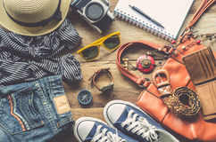 Travel Clothing accessories Apparel along for the trip.  Royalty Free Stock Photography