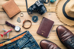 Travel Clothing accessories Apparel along for the trip.  Royalty Free Stock Photos
