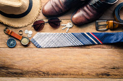 Travel Clothing accessories Apparel along for the trip.  Stock Images