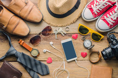 Travel Clothing accessories Apparel along for the trip - concept lifestyle. Travel Clothing accessories Apparel along for the trip - concept lifestyle Stock Photography
