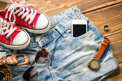 Travel Clothing accessories Apparel for travel. Travel Clothing accessories Apparel for travel Royalty Free Stock Images