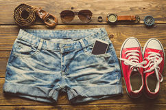 Travel Clothing accessories Apparel for travel. Travel Clothing accessories Apparel for travel Royalty Free Stock Image