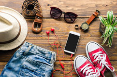 Travel Clothing accessories Apparel for travel. Travel Clothing accessories Apparel for travel Stock Photos