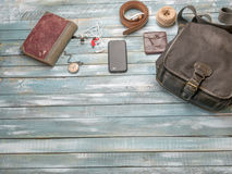 Travel Clothing man's accessories apparel along on wooden floor royalty free stock photos