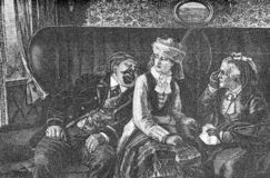 Travel in coach, humor vignette. Humor scene describing the travel in first class coach, a fat snoring man,an unconmfortable girl and an enraged mother with vector illustration
