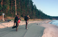 Travel On The Coast Along Coniferous Forest Stock Image