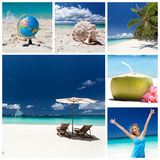Travel collage. Different views from tropical beach. Travel collage stock photos