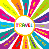 Travel collage with different world city names. Colorful travel collage with different world city names Stock Image