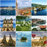 Travel collage European landmarks architecture Stock Image